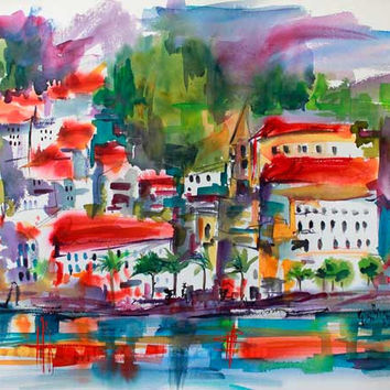 Amalfi Coast Expressive Watercolor Original