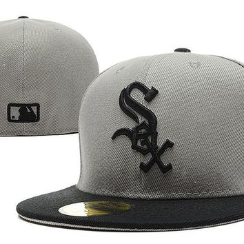 PEAPON Chicago White Sox New Era MLB Authentic Collection 59FIFTY Hat Grey-Black