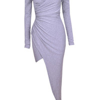Long Sleeve Off-shoulder Ruched Wrap Dress