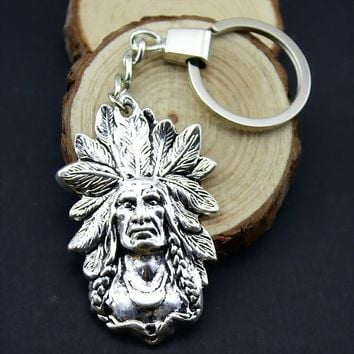 Home Decor Metal Crafts Favors Indian chief Pendants DIY Car Key Ring Holder Souvenir Gift Optional Package Kraft Paper Box