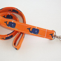 Lanyard ID Badge Holder - Blue Whales on Orange - Lobster clasp and key ring