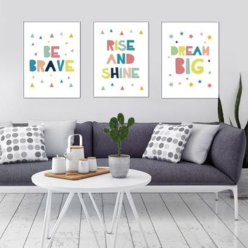 Colored Letter Pattern Canvas Art Print Painting Home Office Wall Decor