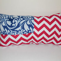 Pillow USA Flag Patriotic Americana Red White Blue Chevron Stripes Damask Modern