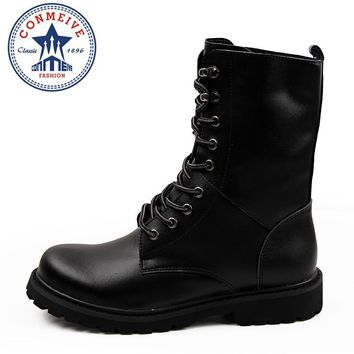 Hot Sale Genuine Leather Winter Snow Botas Military Punk Vintage Rock Roll Army Hiking Outdoor Boots Lace Up Men Shoes