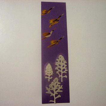 "Handmade unique bookmark ""Migration"" - Decorated with dried pressed flowers and herbs - Original art collage."