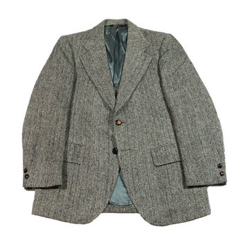 Vintage Harris Tweed Wool Jacket Made in USA Mens Size 38R