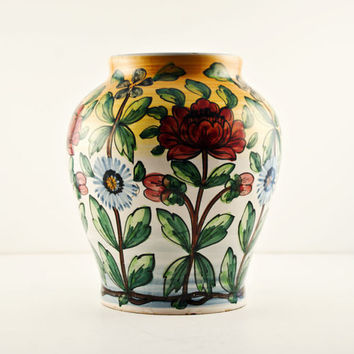 Castelli, Italy Maiolica Urn Style Vase, Hand Painted Floral and Leaves