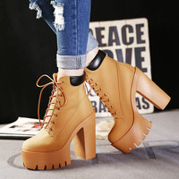 Fashion Autumn And Winter Platform Ankle Boots Women Lace Up Thick Heel Martin Boots Ladies Worker Boots Black Size 35-39