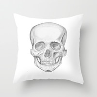 Skull Throw Pillow by Alicia Evans