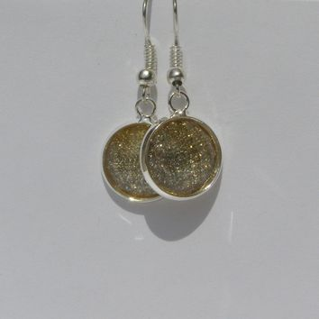 Sparkly Faceted Cabochon Drop Earrings 12mm