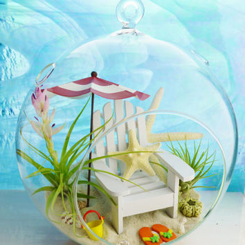 "Day at the Beach Terrarium ~ Beach Umbrella 4 Colors ~ Adirondack Chair ~ Air plants ~ 8"" Glass Round Globe ~ Beach Decor ~ Great Gift Idea"