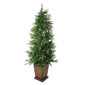 VOND4H 6' x 43' Pre-Lit LED Potted Artificial Pine Christmas Tree - Clear Lights