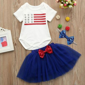 Silver Stars Flag Outfit Blue Onesuit And Tutu Skirt