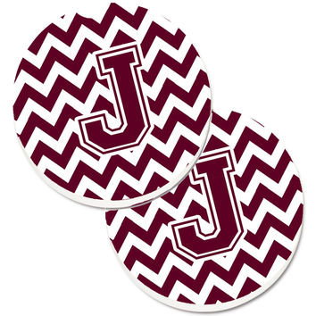 Letter J Chevron Maroon and White  Set of 2 Cup Holder Car Coasters CJ1051-JCARC