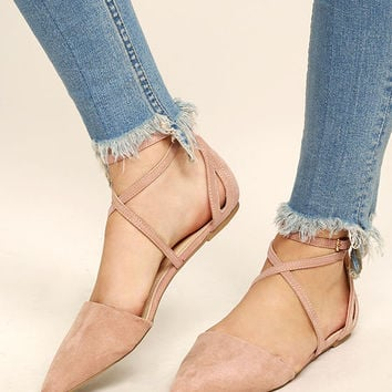 Rayna Blush Suede Pointed Flats