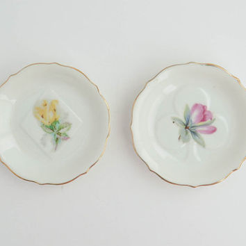 Vintage Small Floral China Plates - Set of 2 Tiny Porcelain Dishes - Jewelry Plate