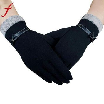 VOND4H Winter Warm Bow Fur With Velvet Gloves