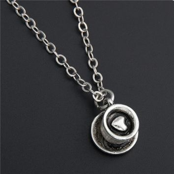 1pc Silver Coffee Cup Necklace Lover Friend Gift Cappuccino DIY Jewelry For Woman Box Gift E198