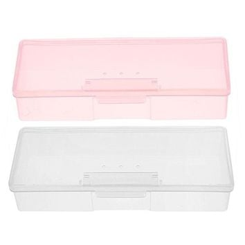 DCCKLG2 Plastic Transparent Nail Supplies Storage Box  193 mm x 80mm x 39mm Buffer/Files Organizer Case
