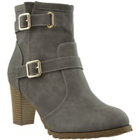 Womens Ankle Boots Gold Buckle Strap Stacked Heel Booties Gray