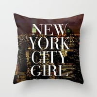 New York City Girl Manhattan Skyline Throw Pillow by RexLambo | Society6