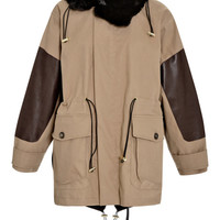 Marni Paneled Fur-Trimmed Parka Walnut