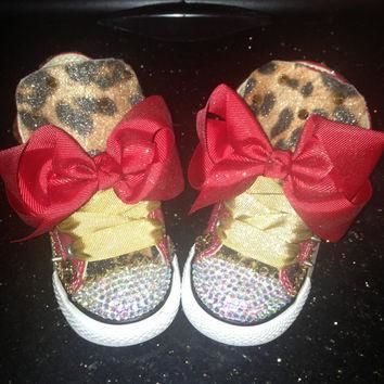 custom red and leopard print converse