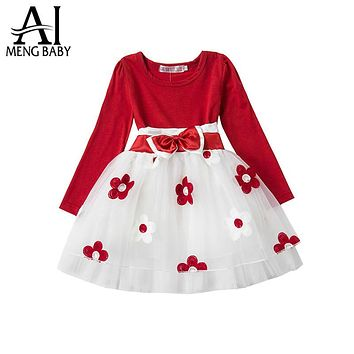 Ai Meng Baby Winter Kids Party Dresses For Girl Baptism Flower Toddler Girl 1 2 Years Birthday Outfits Newborn Baby School Wear