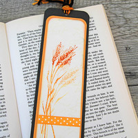 Handmade Bookmark with a Bunch of Wheat, Stamped Bookmark, Gift for Readers and Book Enthusiasts, Image of Edible Grain, Black and Orange