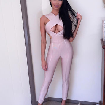 Briana- Bandage Criss Cross Cut Out Nude Jumpsuit