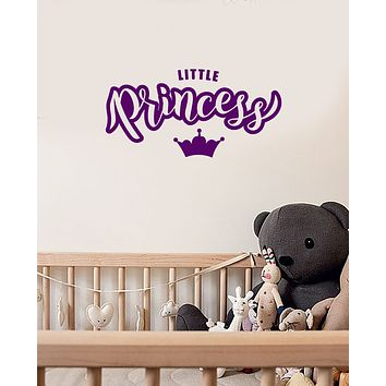 Vinyl Wall Decal Little Princess Crown Bedroom Nursery Kids Girl Room Stickers Mural (ig6084)