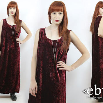 Vintage 90s Grunge Merlot Crushed Velvet Maxi Dress XL 1X Merlot Velvet Dress Goth Dress 90s Grunge Dress Plus Size Dress Plus Size Vintage