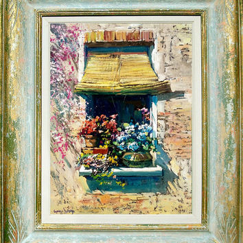 Italian painting window with flowers original oil of Giuseppe Landi Italy - Frame included