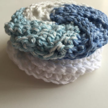 Tawashi Style Spiral Scrubbie - Set of 2 - Handmade - Crocheted - Cotton - Blue - White - Washcloth - Pot Scrubber - Dishcloth