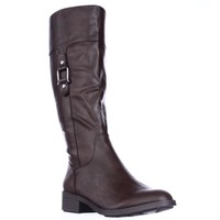 SC35 Astarie Buckle Knee High Boots, Brown, 9 US