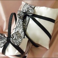 Wedding Ring Pillow and Flower Girl Basket Zebra Print and Black Wedding Accessories