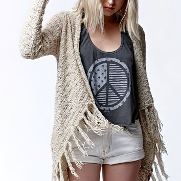 O'Neill Ibby Fringe Cardigan Sweater - Womens Sweater - Natural