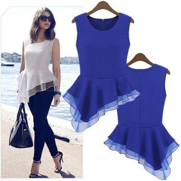 PEAPIX3 Ladies Peplum Irregular Tank Tops Frill Fitted Shirt Party Tails Blouse  18726