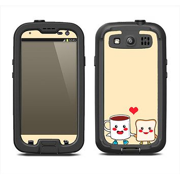 The Cute Toast & Mug Breakfast Couple Samsung Galaxy S3 LifeProof Fre Case Skin Set