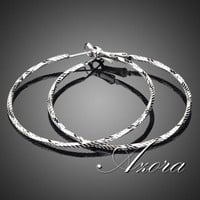 AZORA 18K White Gold Plated Classic Round Hoop Earring TE0024