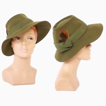 Vintage 40s Women s FEDORA   1940s Olive Green Felt Menswear Ins 84bf4481011