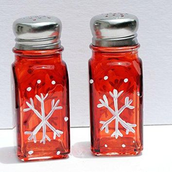 Hand Painted Red White Snowflake Salt and Pepper Shakers Set