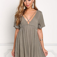 Olive Plunge V Cross Strap Shift Dress