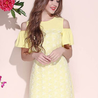 Yellow Cold Shoulder Mini Floral Dress