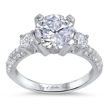 3.7CT Round Cut Solitaire Russian Lab Diamond Engagement Ring