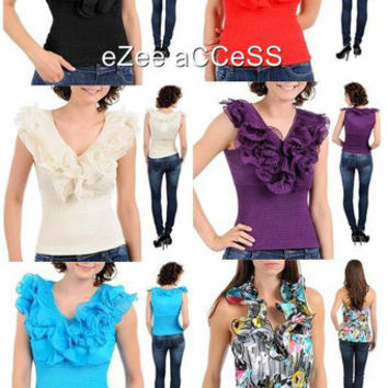 SeXY WoMeNS ViNTaGe ViCTORiaN SHiMMeR RuFFLeD CoLLaR SMoCKeD BLouSe ToP S,M,L