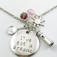 "Tangled Rapunzel ""i've got a dream,"" hand stamped necklace"