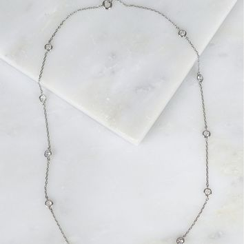 Dainty Crystal Studded Necklace Silver