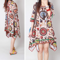 Loose Vintage Style  Asymmetrical Dress