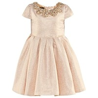 Kate Mack - Biscotti Gold Lurex Party Dress with Jewel Collar | AlexandAlexa